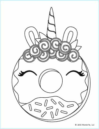 Unicorn Flowers Donut Coloring Page