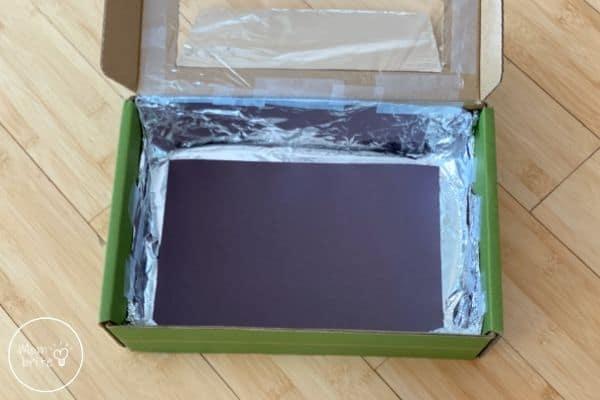 DIY Solar Oven Black Paper on Bottom