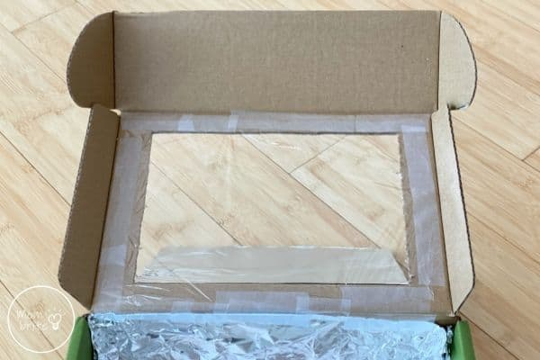 DIY Solar Oven Cover Opening with Plastic Wrap