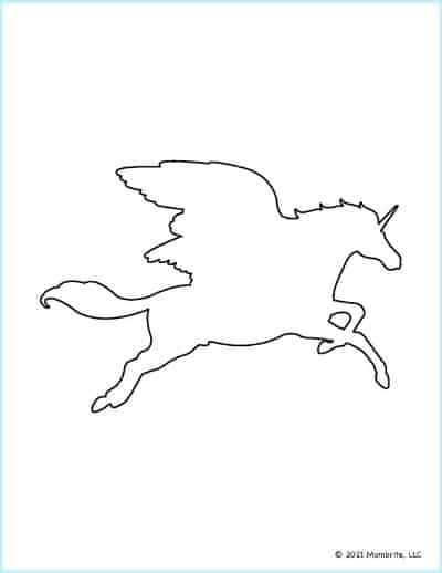 Flying Unicorn with Wings Template