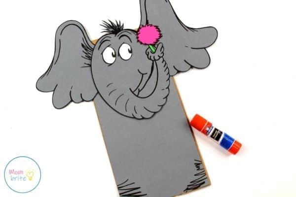 Horton Paper Bag Puppet Glue Flower