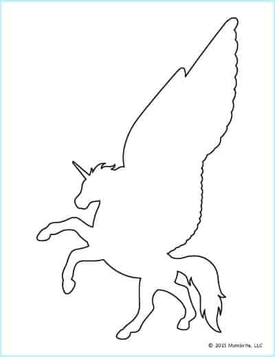 Rearing Unicorn with Wings Outline