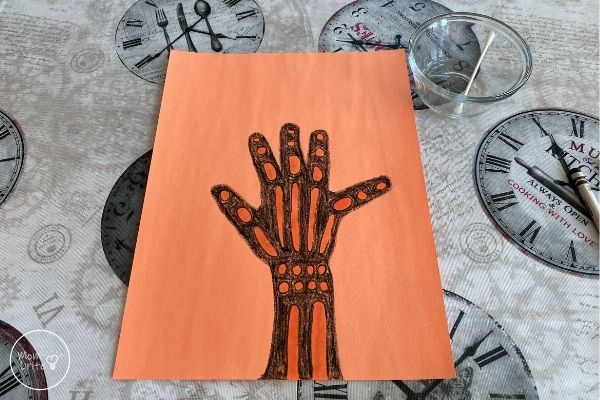 Skeleton Hand X-Ray Painting with Oil
