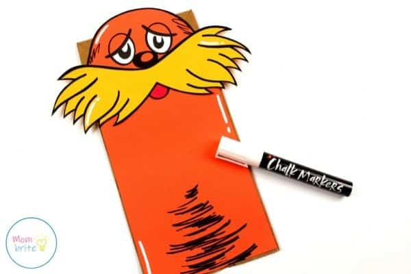The Lorax Paper Bag Puppet Draw White Highlight