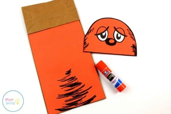 The Lorax Paper Bag Puppet Glue Body on Bag