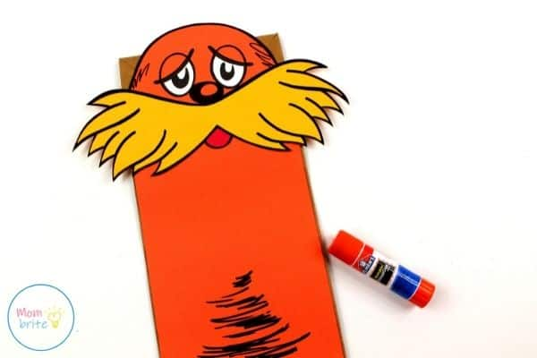The Lorax Paper Bag Puppet Glue Head on Body