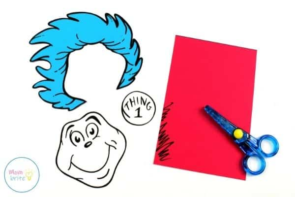 Thing 1 and Thing 2 Paper Bag Puppets Cut Template Patterns