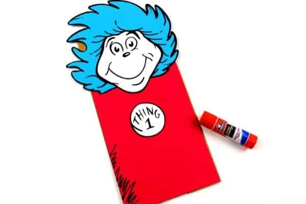 Thing 1 and Thing 2 Paper Bag Puppets Glue Head Pattern