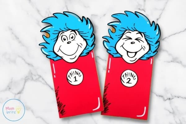 Thing 1 and Thing 2 Paper Bag Puppets