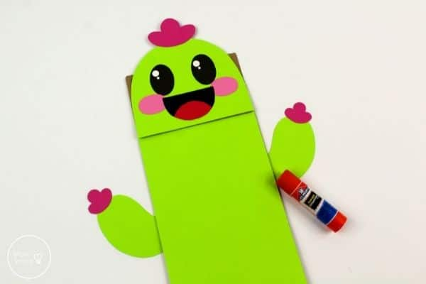 Cactus Paper Bag Puppet Assemble Face and Body