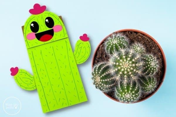 Cactus Paper Bag Puppet Craft