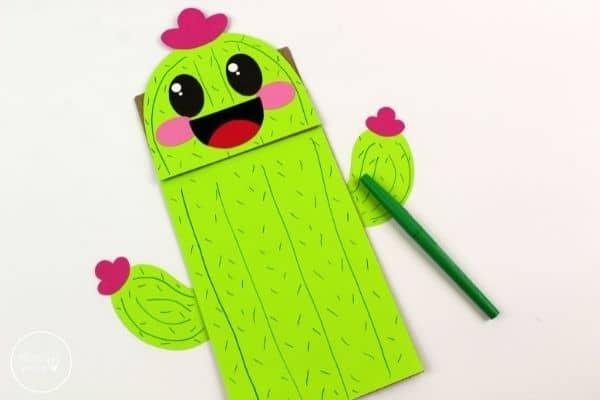 Cactus Paper Bag Puppet Draw Details