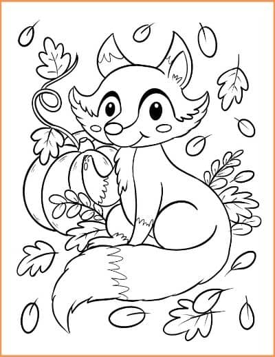 Fall Fox Coloring Page