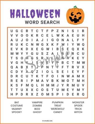 Halloween Word Search Sample