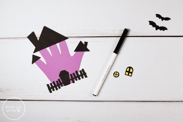 Handprint Haunted House Draw Window Frame