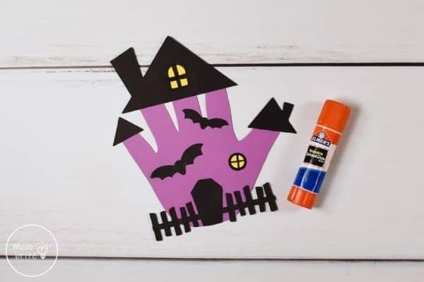 Handprint Haunted House Glue Windows and Bats