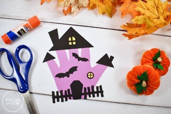 Haunted House Handprint Craft Fall Decor
