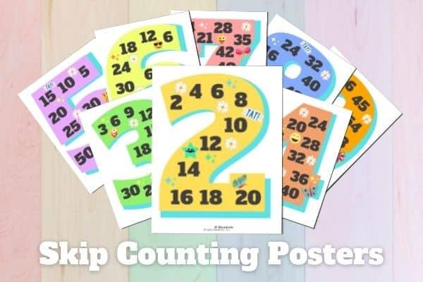 Printable Skip Counting Posters Mockup