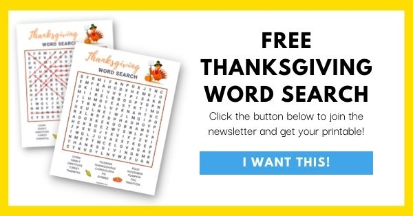 Thanksgiving Word Search Email List Opt-In