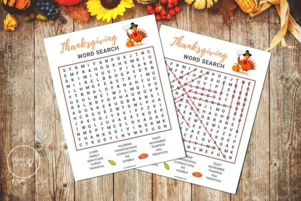 Thanksgiving Word Search Mockup
