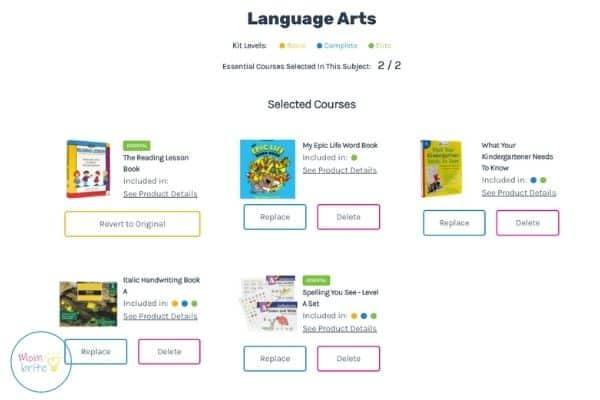 Timberdoodle Custom Kit Builder Alternate Language Arts