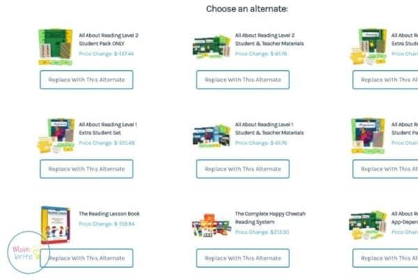 Timberdoodle Custom Kit Builder Alternate Reading Program