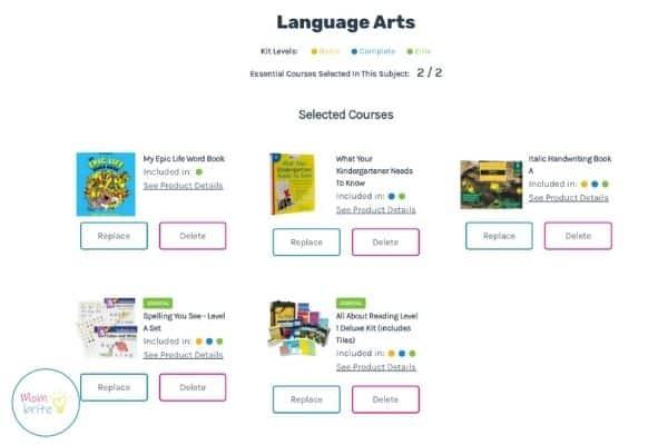 Timberdoodle Custom Kit Builder Language Arts
