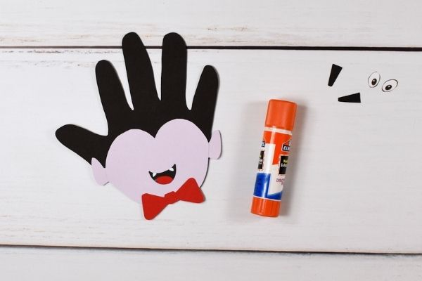 Vampire Handprint Craft Glue Mouth to Face
