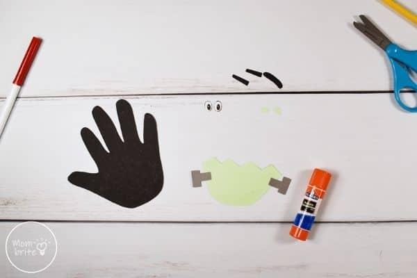 Frankenstein Handprint Craft Glue Ears to Face