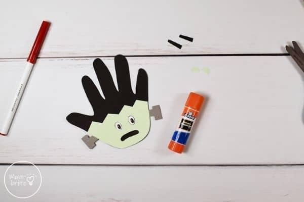 Frankenstein Handprint Craft Glue Eyes to Face