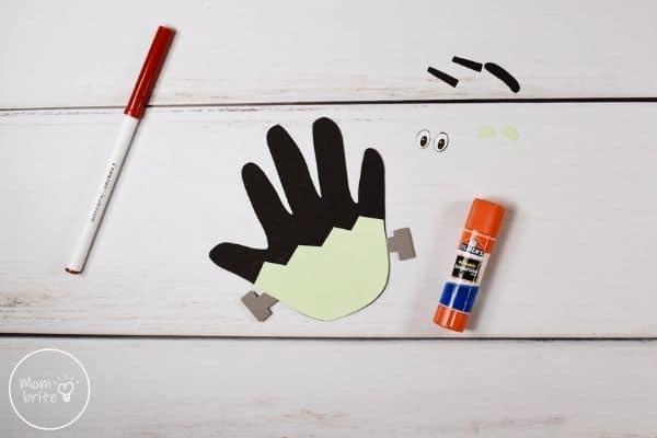 Frankenstein Handprint Craft Glue Face to Hair