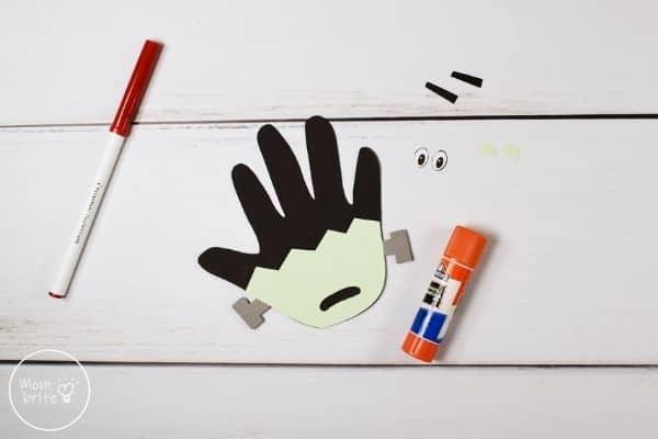 Frankenstein Handprint Craft Glue Mouth to Face