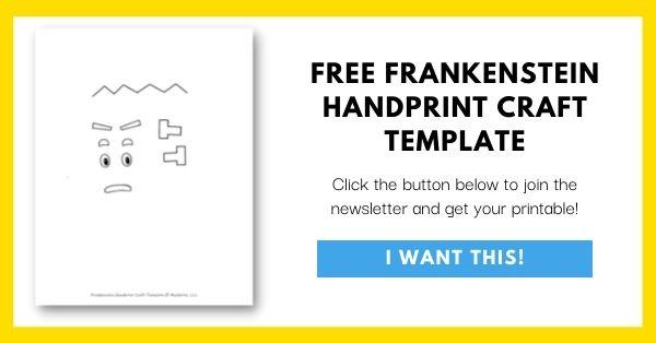 Frankenstein Handprint Craft Template Email List Opt-In