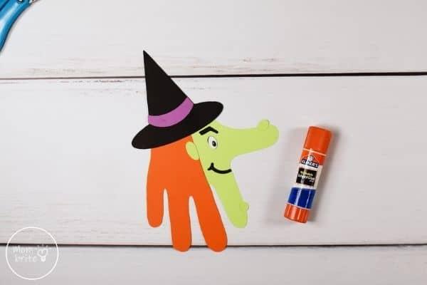 Witch Handprint Craft Glue Face Patterns
