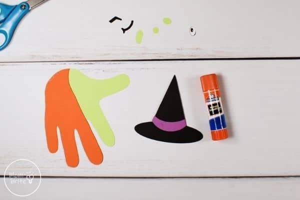 Witch Handprint Craft Glue Hat