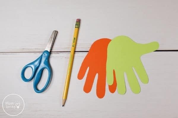 Witch Handprint Craft Lay Green Hand Over Orange
