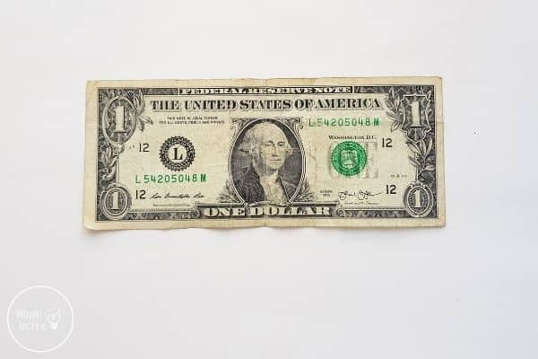 dollar bill for the origami heart