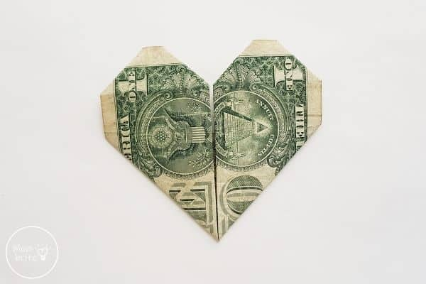 dollar bill origami heart flip finished paper over