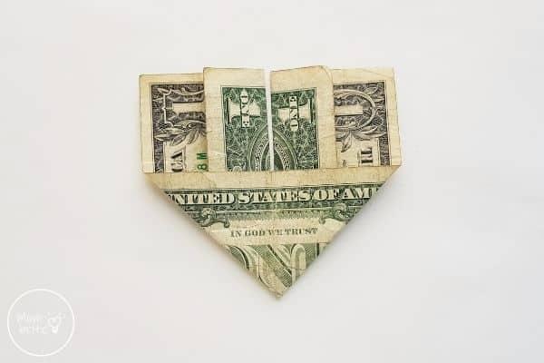 dollar bill origami heart flip paper over