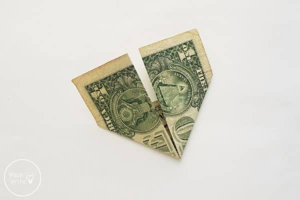 dollar bill origami heart fold left side up
