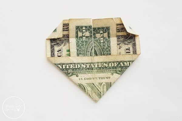 dollar bill origami heart fold top corners down