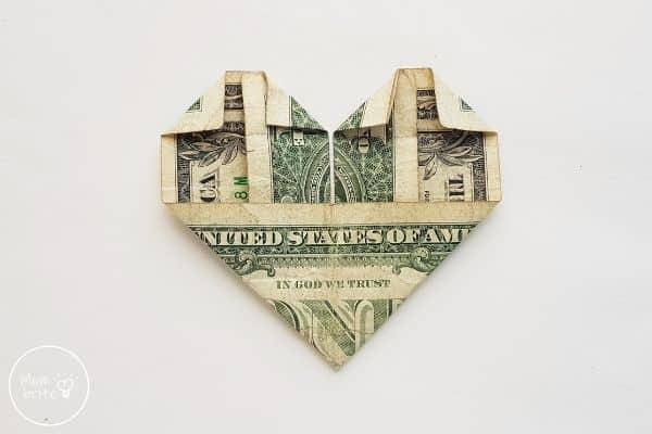 dollar bill origami heart fold top inside corners down