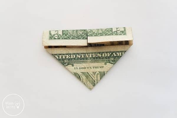 dollar bill origami heart fold top section down