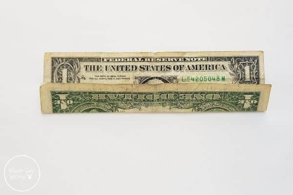 dollar bill origami heart fold up 1/3 way
