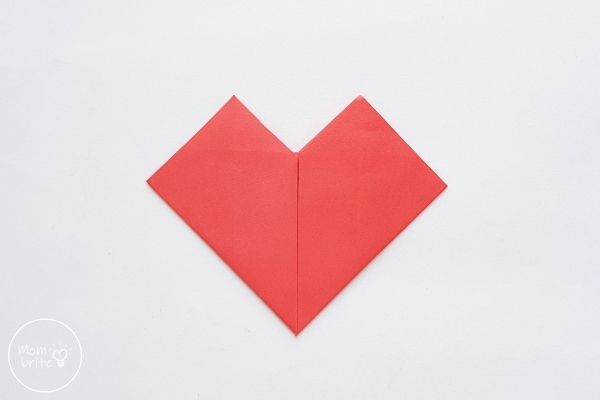 origami heart fold other bottom side up