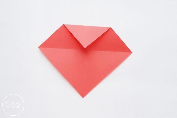 origami heart fold top corner down