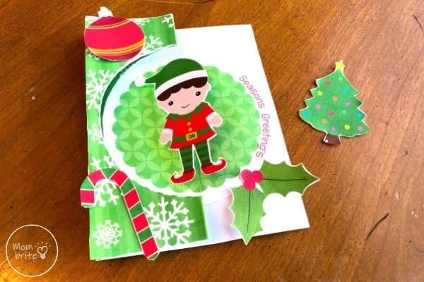 Spinning Elf Christmas Card Glue Decorations