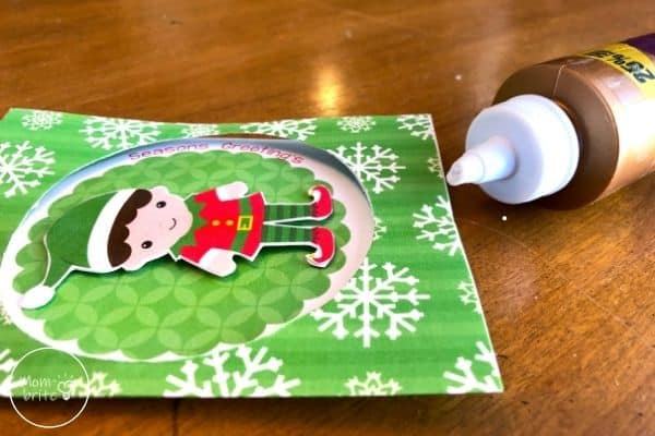Spinning Elf Christmas Card Glue Thread