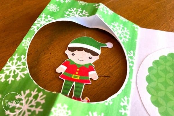 Spinning Elf Christmas Card Place Thread Through Top and Bottom